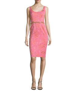 Marchesa Notte | Sleeveless Embellished Jacquard Cocktail Dress
