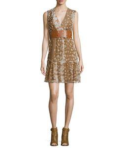 Agnona | Sleeveless Ruffled-Hem Dress Caramel/Multi