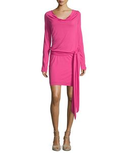 Haute Hippie | Cowl-Neck Open-Back Jersey Mini Dress Bright