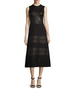 Narciso Rodriguez   Sleeveless Contrast-Striped Midi Dress