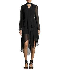 C/Meo | Make It Right Handkerchief-Hem Chiffon Dress