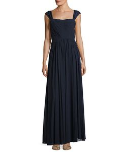 Vera Wang | Shirred-Chiffon Sleeveless Gown