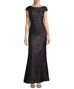 Vera Wang | Cap-Sleeve Jacquard Gown