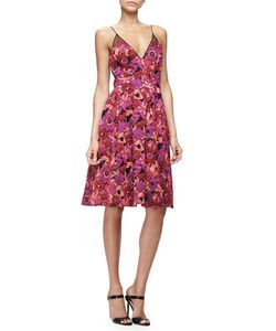 Badgley Mischka | Jacquard Fit-And-Flare Dress Berry