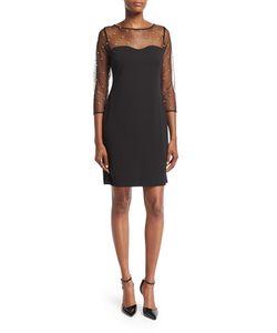 Karl Lagerfeld | Illusion-Yoke Long-Sleeve Sheath Dress