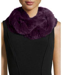 Jocelyn   Shea Rabbit Fur Knitted Infinity Scarf