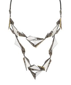 Alexis Bittar | Two-Tone Crystal-Encrusted Long Origami Station Necklace