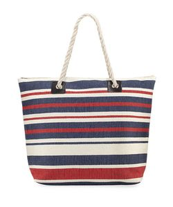 San Diego Hat Company | Woven Striped Tote Bag With Rope Handles