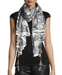Michael Stars | Printed Scarf With Coin Tassels