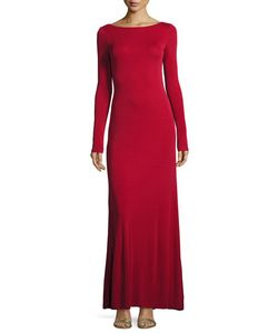 Vera Wang | Cowl-Back Long-Sleeve Knit Gown