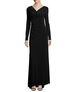 Vera Wang | Long-Sleeve Cowl-Neck Knit Gown