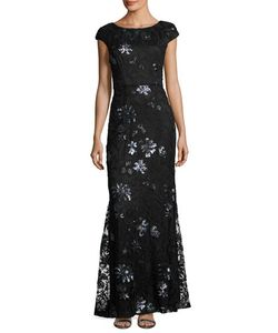 Vera Wang | Sequin-Embroide Lace Cap-Sleeve Gown