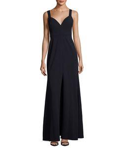 Vera Wang | Sleeveless Deep V-Neck Gown