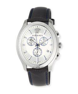 Versace | 48mm Bond Street S Oval Chronograph Watch W Leather Strap