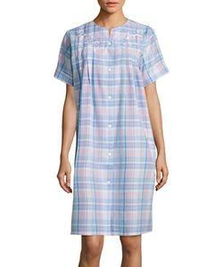 Miss Elaine   Plaid Seersucker Mumu Robe