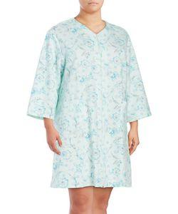 Miss Elaine   Plus Quilted Mumu Zip-Up Robe