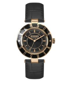 Versus | Logo Goldtone Stainless Steel Leather Strap Watch Sp8160015