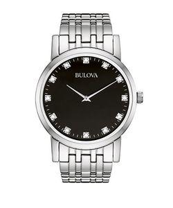 Bulova   Diamond Dial Stainless Steel Watch 96d106