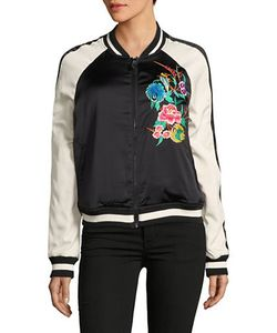 True Religion | Embroidered Satin Bomber Jacket