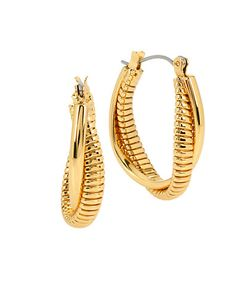 Diane von Furstenberg | All The Glitz Omega Twist Oval Hoop Earrings 1in