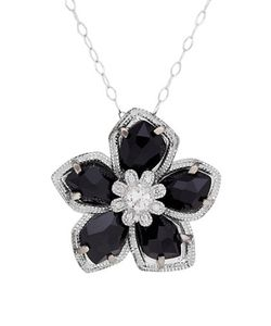 Lord & Taylor | Diamond Sterling And Onyx Flower Pendant Necklace