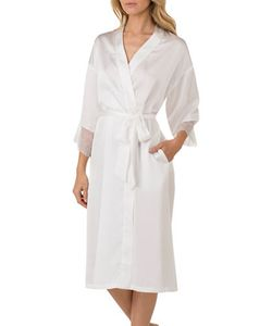 H Halston   Satin Charmeuse And Lace Long Robe