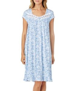 Eileen West   Printed Shirred Nightgown