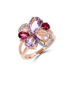 Effy | Mosiac Semi-Precious Multi-Stone Diamond And 14k Rose Flower Ring