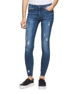 Calvin Klein Jeans | Cotton-Blend Distressed Ankle Jeans