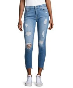 7 For All Mankind | The Ankle Distressed Skinny Jeans