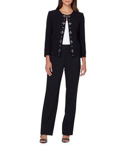 Tahari Arthur S. Levine | Embroide Center-Front Jacket And Pant Suit