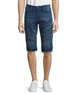 True Religion | Patterned Frayed-Cuff Denim Shorts