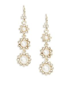 Marchesa | Crystal Pave Faux Pearl Linear Drop Earrings