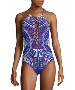 Trina Turk | Lace-Up Halter One Piece Swimsuit