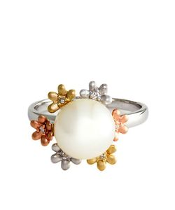 Effy | 14kt And Rose Freshwater Pearl Ring With Diamond