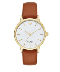 Kate Spade New York | Goldtone Stainless Steel Leather Strap Watch