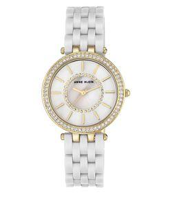 AK Anne Klein | Swarovski Crystal Embellished Round Watch