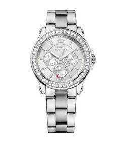 Juicy Couture | Ladies Pedigree Silvertone And Crystal Chronograph Watch