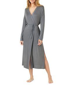 H Halston   Long-Sleeve Side Slit Robe