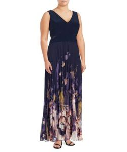 Xscape   Mesh-Accented Gown
