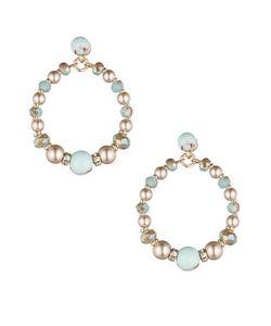 Carolee | Turquoise Sands Faux Pearl Beaded Gypsy Hoop Earrings