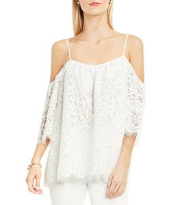 Vince Camuto | Cold-Shoulder Geometric Lace Blouse