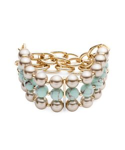 Carolee   Turquoise Sands 8mm Faux Pearl Beaded Triple Row Stretch Bracelet