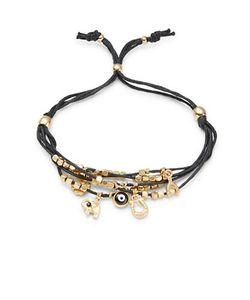 Noir   Charm Accented Beaded Mult-Strand Bracelet