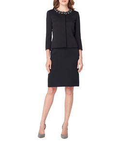 Tahari Arthur S. Levine | Pearl Embellished Jacket And Skirt Suit