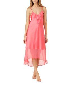 H Halston   Satin Charmeuse And Chiffon Ruffle Nightgown