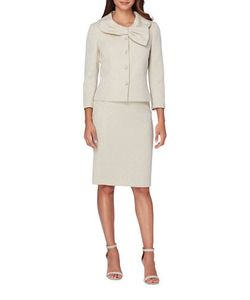 Tahari Arthur S. Levine | Bow Collar Jacket And Skirt Suit