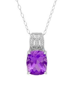 Lord & Taylor | Amethyst Diamond And Sterling Cushion Pendant Necklace