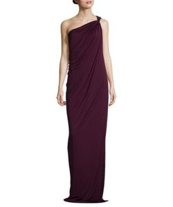Halston Heritage | One-Shoulder Draped Jersey Gown