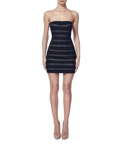 Misha Collection | Striped Mesh Strapless Dress